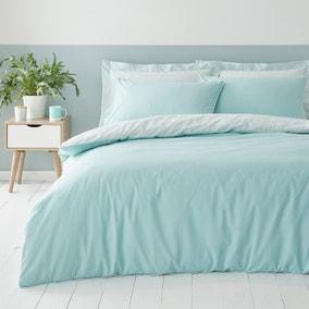 Malvern Seafoam 180 Thread Count 100% Cotton Reversible Duvet Cover and Pillowcase Set