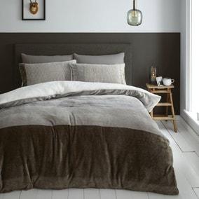 Catherine Lansfield Soft Velvet Sherpa Duvet Cover and Pillowcase Set