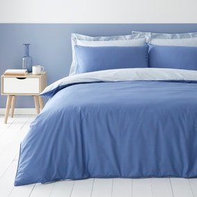 Malvern Blue 180 Thread Count 100% Cotton Reversible Duvet Cover and Pillowcase Set