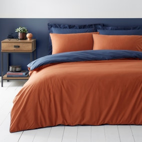 Malvern Navy and Caramel 180 Thread Count 100% Cotton Reversible Duvet Cover and Pillowcase Set