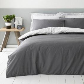 Malvern Grey 180 Thread Count 100% Cotton Reversible Duvet Cover and Pillowcase Set