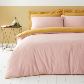 Malvern Yellow and Blush 180 Thread Count 100% Cotton Reversible Duvet Cover and Pillowcase Set