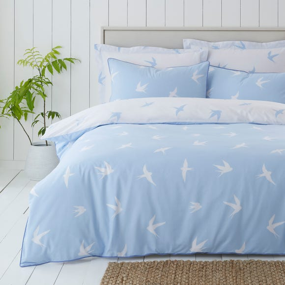 Coastal Birds Blue Reversible Duvet Cover and Pillowcase Set  undefined