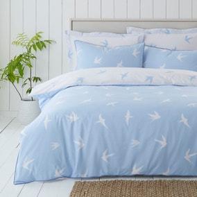 Coastal Birds Blue Reversible Duvet Cover and Pillowcase Set