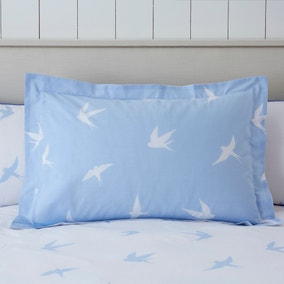 Coastal Birds Blue Oxford Pillowcase