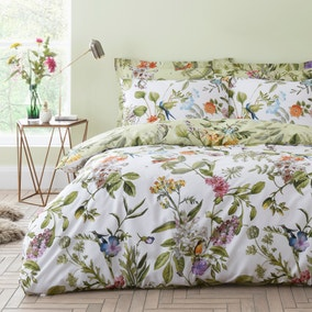 Paradise Birds Green Reversible Duvet Cover and Pillowcase Set