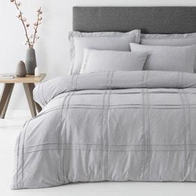 Denver Marl Grey Pintuck Duvet Cover and Pillowcase Set
