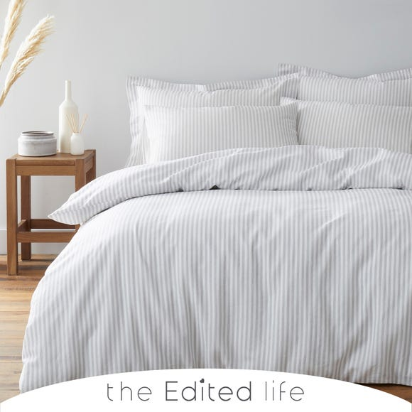 Leighton Grey Striped Linen Blend Duvet Cover and Pillowcase Set  undefined