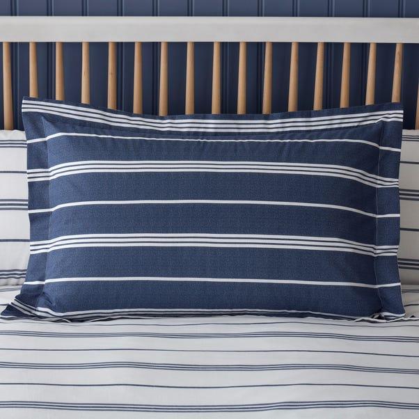 Falmouth Navy Striped 100% Cotton Oxford Pillowcase Navy (Blue)