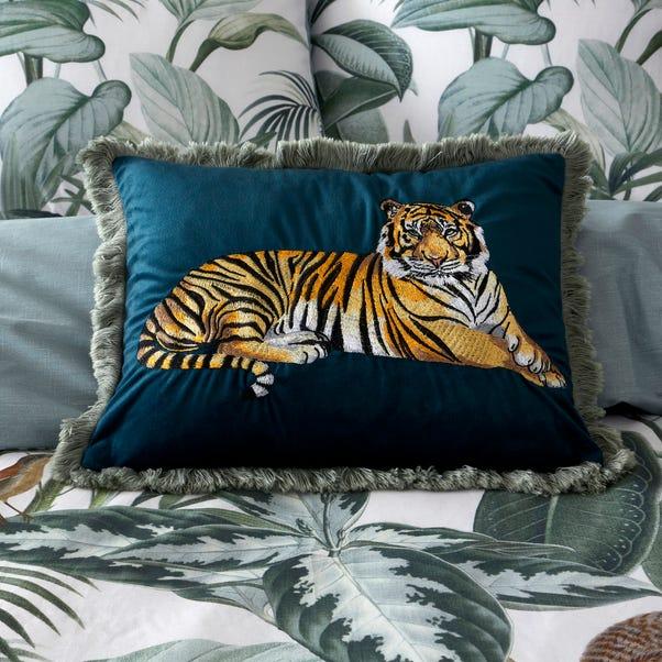 Velvet Tiger Embroidered Cushion Emerald Green