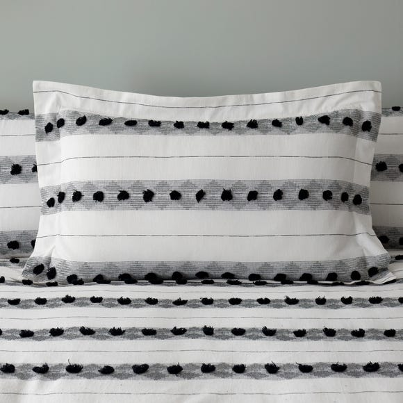 Malini Monochrome Tufted  100% Cotton Oxford Pillowcase Black and white