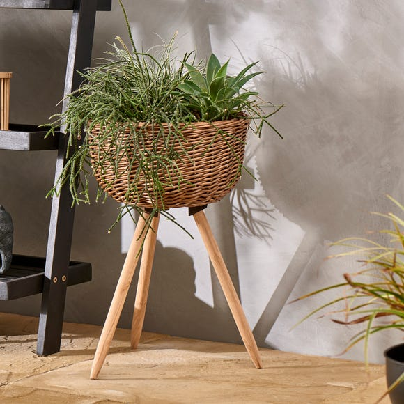 Willow Planter on Wood Stand  Natural (Brown)