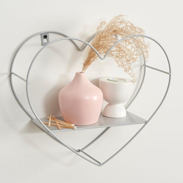 Grey Small Metal Heart Shelf Light Grey