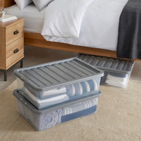 Pack of 3 Silver Underbed 32L Storage Boxes