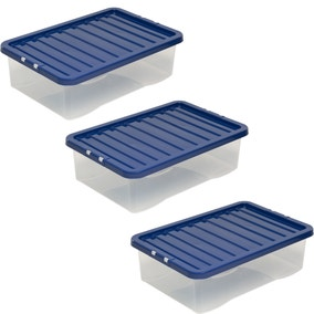 Pack of 3 Navy Underbed 32L Storage Boxes