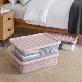 Pack of 3 Blush Underbed 32L Storage Boxes