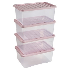 Pack of 4 Blush 17L Storage Boxes