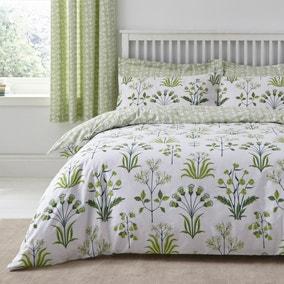 Florentina Green 100% Cotton Reversible Duvet Cover and Pillowcase Set