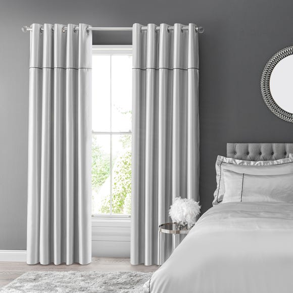 Kris Silver Blackout Eyelet Curtains  undefined