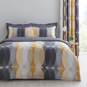 Elements Elijah Ochre Reversible Duvet Cover and Pillowcase Set