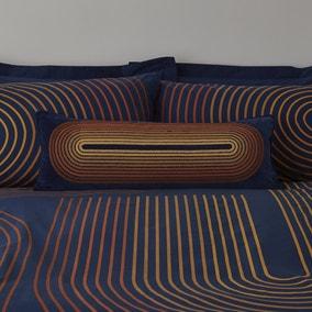 Meyer Blue Large Boudoir Embroidered Cushion