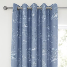Chinoiserie Blue Blackout Eyelet Curtains
