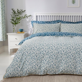 Effie Blue Duvet Cover and Pillowcase Set