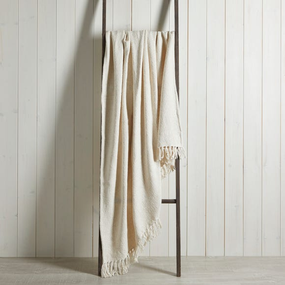Aris Cotton Weave Natural Throw  Natural undefined