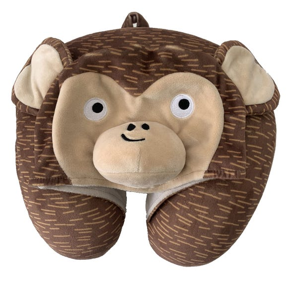 Kids Hooded Monkey Travel Pillow MultiColoured