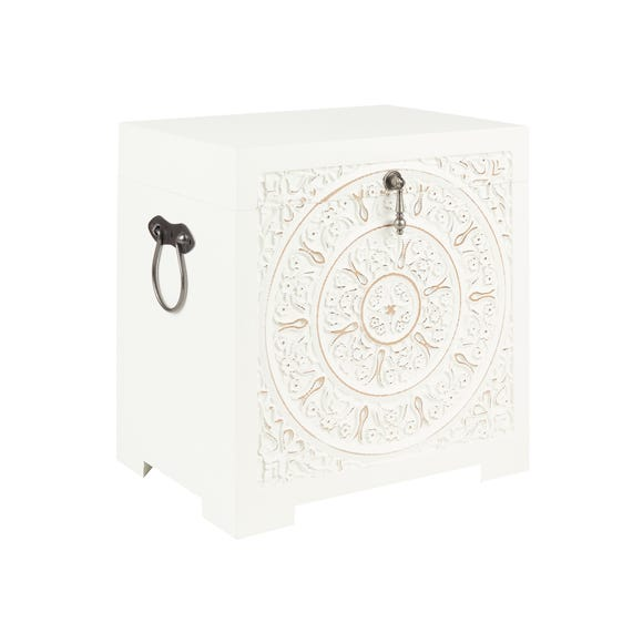 Samira Carved Wood Trunk Small White
