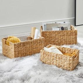 Water Hyacinth Set of 3 Small Baskets