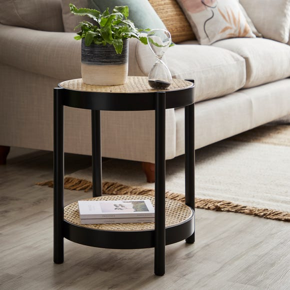 Cancun Round Side Table Black Black