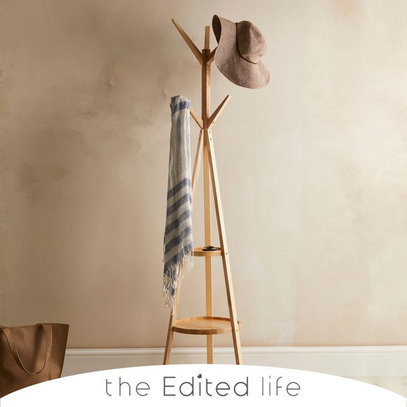 Ash Wood Coat Stand with Shelves Natural (Brown)