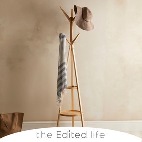 Ash Wood Coat Stand with Shelves