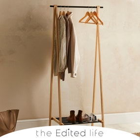 Ash Wood Clothes Rail with Storage Shelf