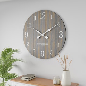 Grey Distressed Wooden 80cm Clock