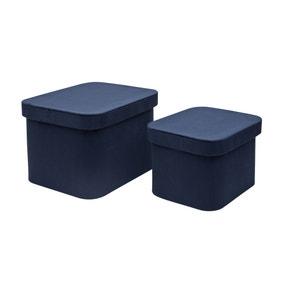 Luxe Velvet Set of 2 Storage Boxes