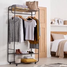 Black Metal Clothes Rail with Shelving