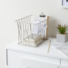 Luxe Brushed Silver Wire Basket