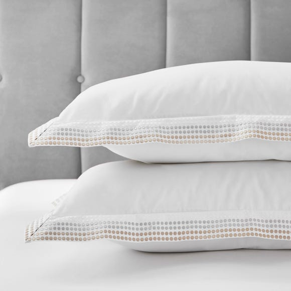 Dorma Purity Chesten 300 Thread Count Cotton Sateen Pillowcase Pair White