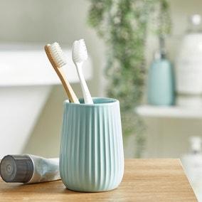 Mint Ribbed Ceramic Tumbler