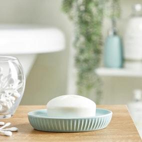 Mint Ribbed Ceramic Soap Dish