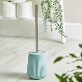 Mint Ribbed Ceramic Toilet Brush