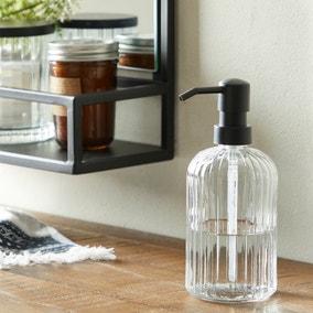 London Ribbed Glass Lotion Dispenser
