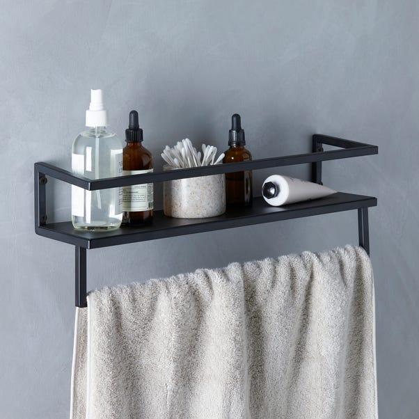 London Matt Black Towel Rail with Shelf Matt Black
