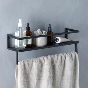 London Matt Black Towel Rail with Shelf
