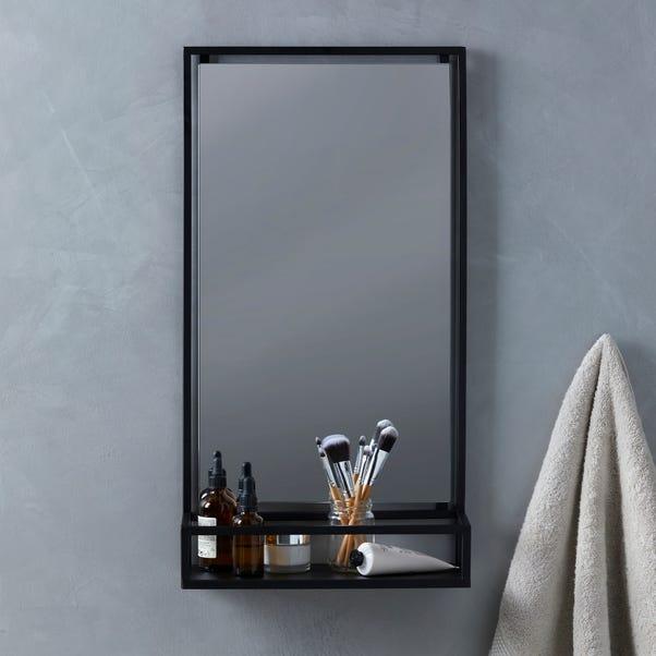 London Matt Black Bathroom Mirror and Shelf Matt Black