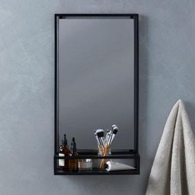 London Matt Black Bathroom Mirror and Shelf