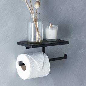 London Matt Black Toilet Roll Holder and Shelf