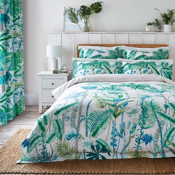 Dorma Mustique Green Reversible 100% Cotton Duvet Cover and Pillowcase Set  undefined